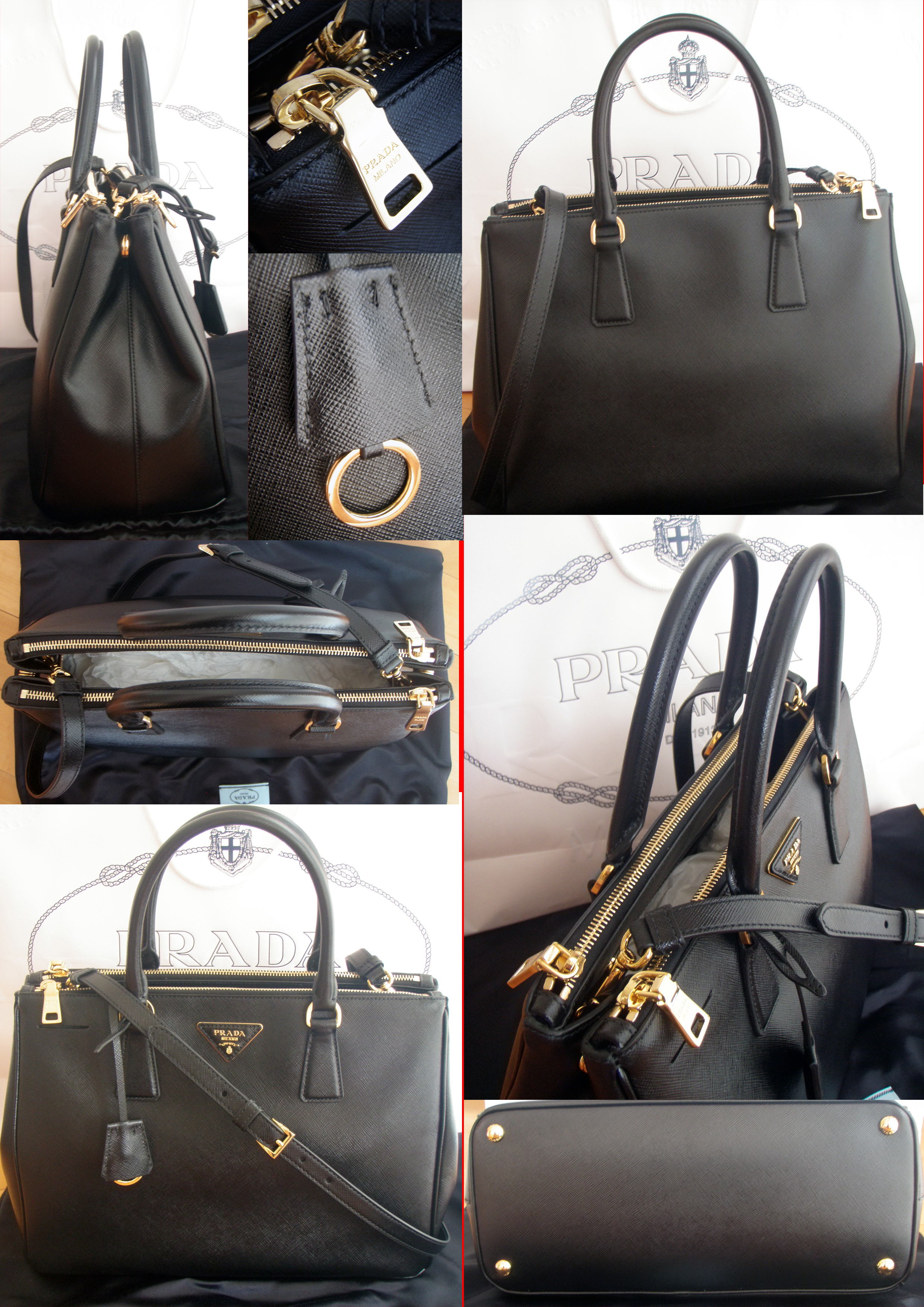 prada purse real - Prada Saffiano Lux Double Zip Tote with shoulder straps in Nero ...